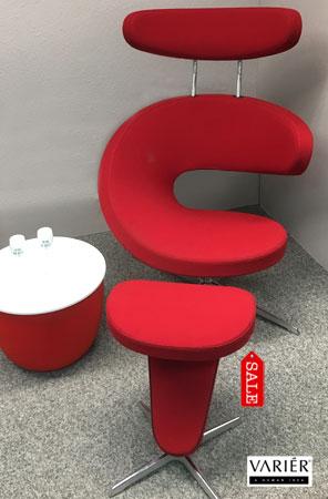 Schnäppchen Sessel Peel mit Hocker in Rot bei Riemenschneider-Wiesbaden