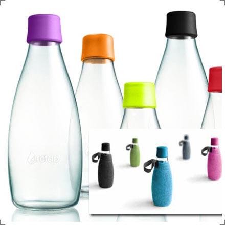 Retap Trinkflaschen mit austauschbaren farbigen Deckeln sowie Filzbezügen bei Riemenschneider-Wiesbaden