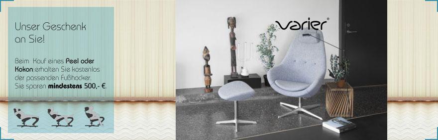 Bei Kauf eines Varier Sessels Kokon erhalten Sie den Hocker gratis bei Riemenschneider Wiesbaden