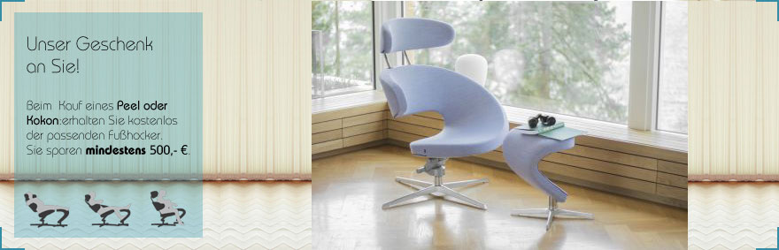 Bei Kauf eines Varier Sessels Peel erhalten Sie den Hocker gratis bei Riemenschneider Wiesbaden